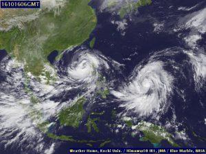 NASA Satellitenbild Südost-Asien 16.10
